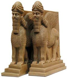 Lamassu Bookend Lion