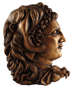 """Alexander III the Great"" wall relief, hand patinated bronze"