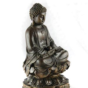 Small Buddha Statuette, hand patinated bronze