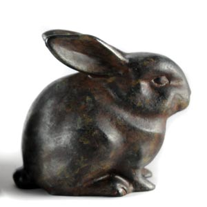 Hand patinated Bunny Rabbit sculpture, figurine